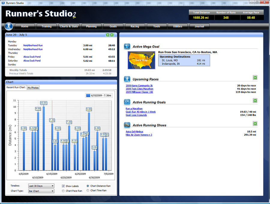 Screenshot of Runner's Studio